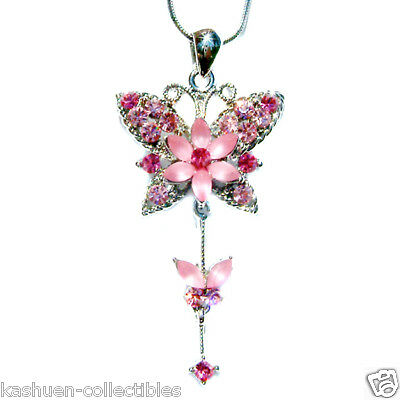 w Swarovski Crystal Bridal Wedding ~Pink Butterfly Flower Charm Pendant Necklace