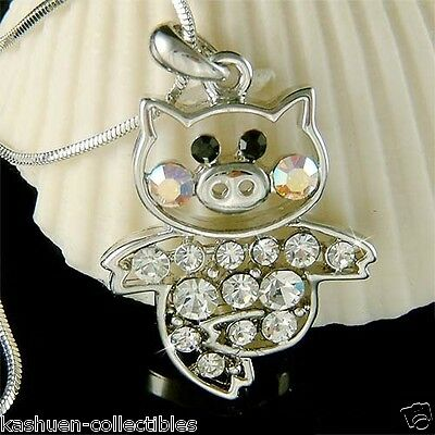 Cute Pig made with Swarovski crystal Piggy Piglet Lover Charm Chain Necklace New