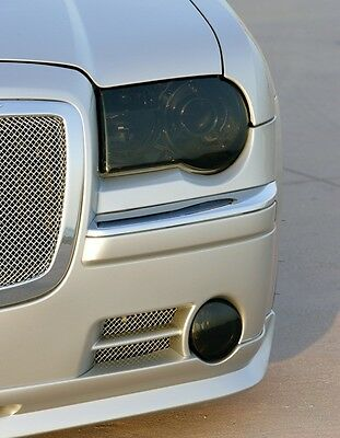 05-10 Chrysler 300C Smoke Head Light Precut Tint Cover Smoked Overlays