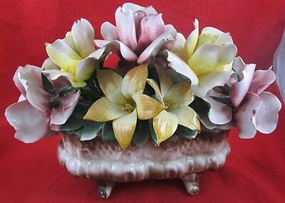 Vintage Italian CAPODIMONTE Porcelain FLOWER Arrangement Italy Red Yellow Floral