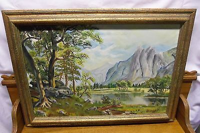 Oil Painting On Canvas - Mountain & Tree Landscape - A Willoughby