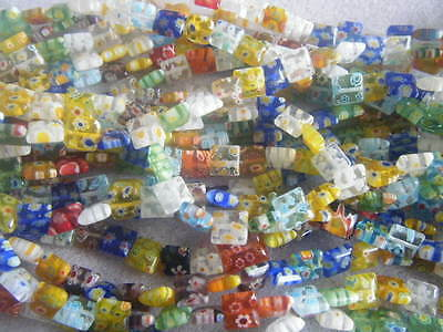 1 String Approx 50 Square Millefiori Mixed 8mm Beads Assorted Multi Flower