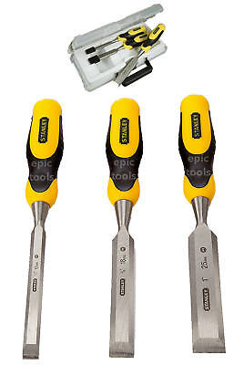 STANLEY DYNAGRIP 3 Piece 12mm,18mm,25mm Bevel Edge Wood Steel Chisel Set,516359