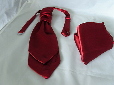 < CRSRST > Shiny Light Burgundy BOYS Wedding Tie-Cravat and Hankie Set