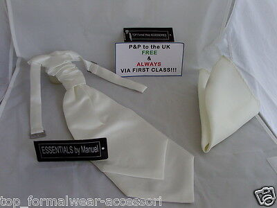 <TOP>Shiny Ivory Cream Double Drop BOYS Ruche Wedding Tie-Cravat & Hankie Set