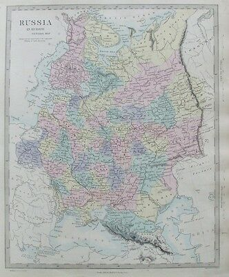 OLD ANTIQUE MAP RUSSIA IN EUROPE by WALKER c1860 PUBLISHED STANFORD 19th C
