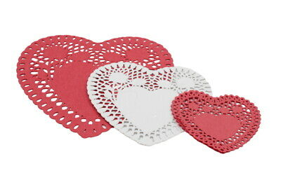 24 Red and Cream Heart Shaped Paper Doilies Doyleys Doily Mat