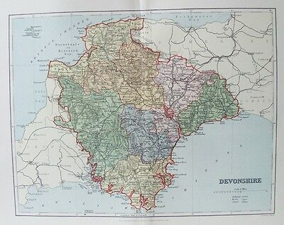 OLD ANTIQUE MAP DEVONSHIRE by WELLER c1880's Published MACKENZIE 19th CENTURY