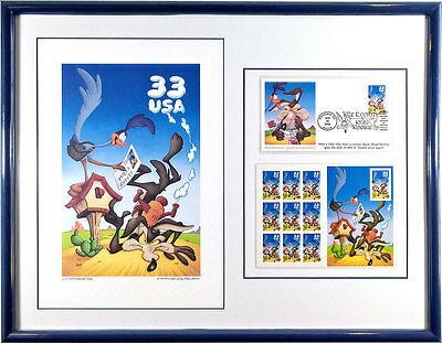 S/O Wile E. Coyote Cancelled Stamp set framed Lithograph Print FDC Road Runner