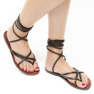 00d68b8ff88078 Womens Strappy Leather Flat Sandals Handmade In Italy In Dark Brown Cuir