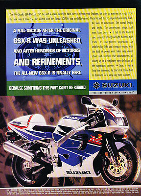 1996 Suzuki GSX-R750 Motorcycle - Rushed - Classic Vintage Advertisement Ad D156