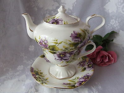 4Pc Violets Petite Tea For One Set -  Tp661