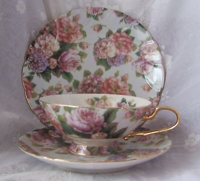 3Pc Mixed Roses Porcelain Cup, Saucer & Plate Trio Set-Tp633