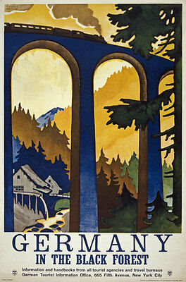 TW81 Vintage 1930's Germany Black Forest German Travel Poster Re-Print A4