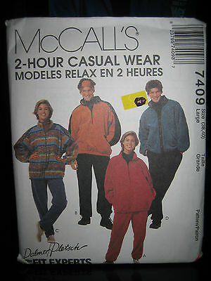 McCall's 7409 Men/Women Unlined Jacket/Top/Pants/Headband Pattern-Sz L (38-40)