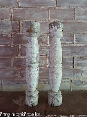 TWO RECLAIMED Wood Candle Stands Shabby Paint Chic  A1 Balusters White