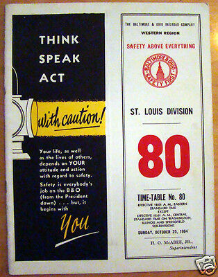 Oct 25, 1964 Baltimore & Ohio Railroad Employee TimeTable #80 St. Louis Division