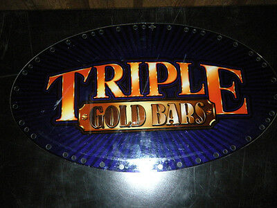 "Igt Slot Machine Topper Insert"" Triple Gold Bars"""