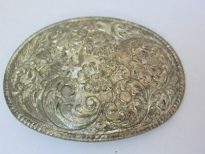 Belt Buckle Vintage Western Silverplated Chambers Phoenix  Floral Oval Unisex