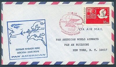 1st Flight Pan American MOSCOW TO NEW YORK COVER 1968 VF