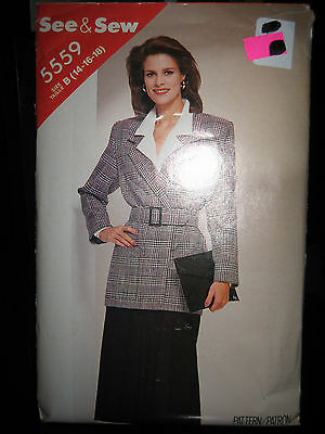 Vintage Butterick See & Sew #5559 Misses Jacket & Skirt Pattern - Sizes 14/16/18