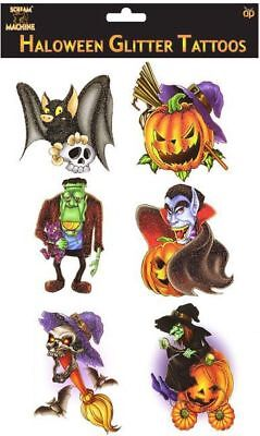 New 6 Halloween Glitter Transfer Tattoos Bat Pumpkin Witch Vampire Frankenstein