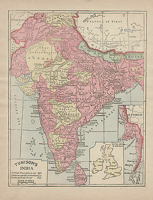 India Ceylon Asia Map Hand Color Tunison Atlas Vintage 1889 Original Antique Map
