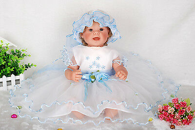New Girls White&Blue Christening/Wedding/Party Dress 3-6 Months with Bonnet