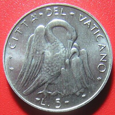 VATICAN CITY 1977 5 LIRE UNCIRCULATED PELICAN 20mm ALUMINUM PAUL VI COLLECTABLE
