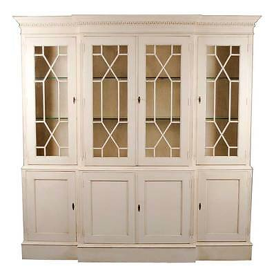 English Antique Style White Painted Breakfront Bookcase / Display Cabinet