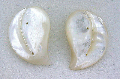 One Pair 1 1/4 Inch Heart Mother Pearl Custom Cut Two Predrilled Accent Hole Gem