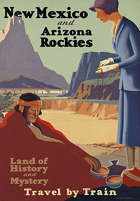 TR95 Vintage Mexico Rockies USA Railway Poster A3 A2 A1