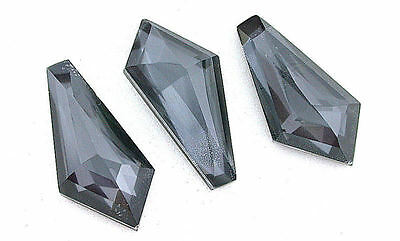 30.5mm x 15mm Fancy Faceted Kite Doublet Hematite Quartz Gemstone Gem B22A45