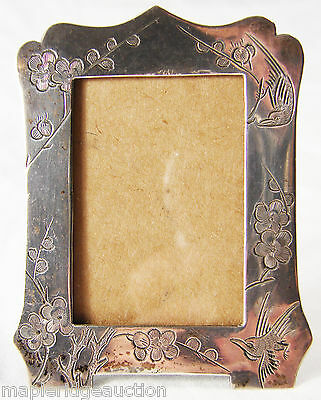 Antique China/Chinese Export Silver Picture Frame, Birds & Flowers Sterling