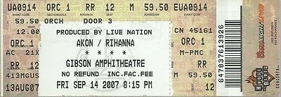 2007 Rihanna / Akon Full Unused Concert Ticket @ Gibson Amphitheatre