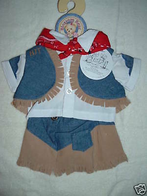 BLUE JEAN TEDDY BEAR Blossom Bear and GIDDY YAP Western Cowgirl Outfit-NEW