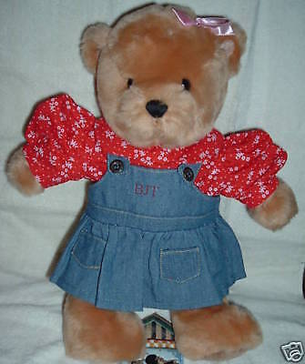 BLUE JEAN TEDDY BEAR Blossom Bear and her OVERALL DENIM DRESS Outfit-NEW
