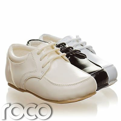 Childrens Baby Boys Cream Shoes Lace Up Wedding Page Boy Christening Kids Shoes