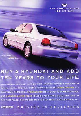 1999 Hyundai Sonata - Blue - Classic Vintage Advertisement Ad D185
