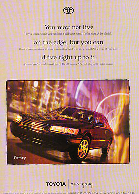 1999 Toyota Camry - Edge - Classic Vintage Advertisement Ad D185
