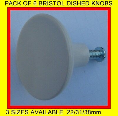 6 X White Plastic Dished Knobs Cupboards/Drawers Etc. 3 Sizes