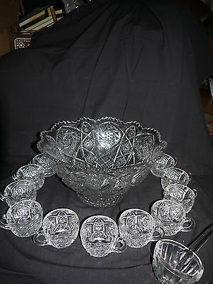 Ant/vtg Imperial Whirling Star Pedestal Punch Bowl, 12 Cups, & Ladle~~Exquisite!