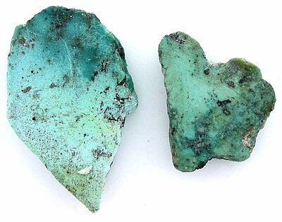 31.9 Grams TWO Sonoran Blue Turquoise Slice Slab Cabochon Cab Rough Gem B17A57
