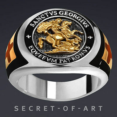 ST. GEORGE TEMPLAR EQVITVM PATRONVS SILVER 925 RING with 24K GOLD-PLATED PARTS