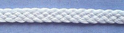 8mm White Plaited Braid
