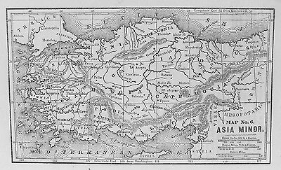 OLD ANTIQUE MAP ASIA MINOR c1820s WITH GREEK & ROMAN MILE SCALE 19th C ENGRAVING