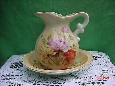 LEFTON HAND-PAINTED FLORAL PITCHER W/ UNDERPLATE #KN1286