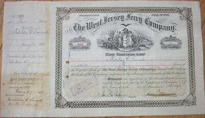 1893 Stock Certificate: 'West New Jersey Ferry Company' - Camden, NJ