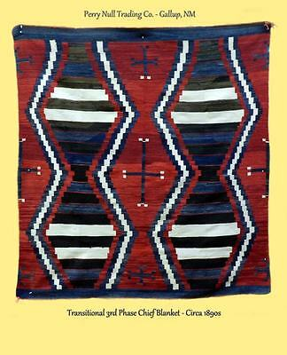 Chief's Blanket, 3rd Phase Transitional Rug, Navajo, Circa 1890s