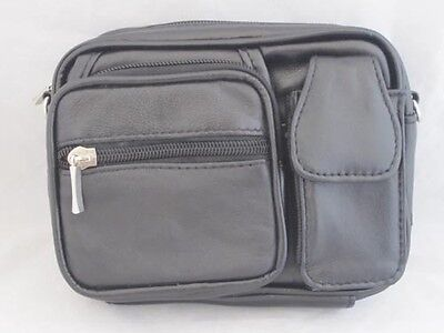 Camera Cell Phone Organizer Shoulder Bag Leather New Black Great Gift Idea